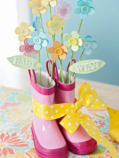 Rain boots & flowers centerpiece-do with my blue striped rainboots and red gerber daisies