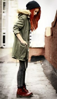 Cherry Red Doc Martens - Military oversized green khaki coat <3 Love this outfit!!!!! And I love her hair!!!!!!!!