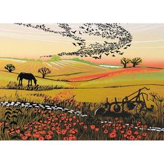Rob Barnes, Starlings and Poppies, Art Card London University, Pebble Painting, Starling, Landscape Art, Landscape Paintings, Landscapes, Horse Art, Close Image, Traditional Art