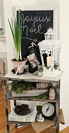 Winter Store...I so love that lantern