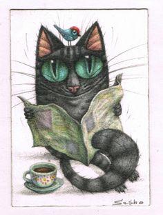 "ACEO ORIGINAL GREY TABBY CAT NEWSPAPER COFFEE BIRD SASHO MINI ART 2,5""x3,5"""