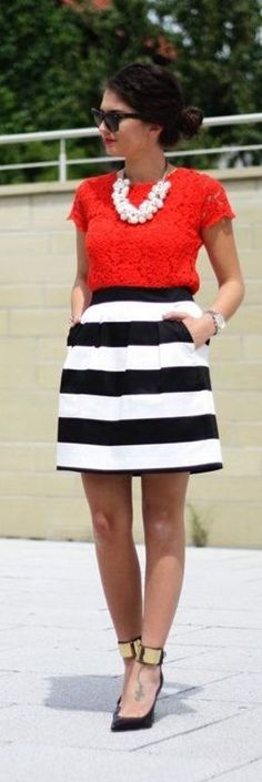 Black and white striped skirt LOVE! Cute outfit for Austin's graduation, have the skirt, need a lace red top! Work Fashion, Unique Fashion, Nautical Fashion, Runway Fashion, Fashion Models, Style Fashion, Fashion Jewelry, Fashion Trends, Looks Style