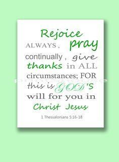Bible Verses Art 1 Thessalonians 5:16-18 Scripture by printShouse