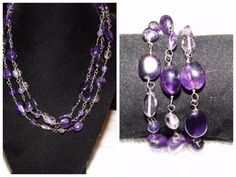 Sterling Silver Necklace W/Clear stones,light amethyst stones MA18