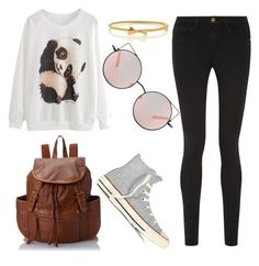 """Panda Time"" by maldoggie ❤ liked on Polyvore featuring Frame Denim, Kate Spade, LULU, Matthew Williamson and Converse"