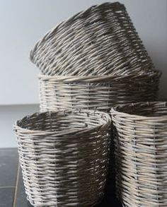Set Of Four Round Willow Baskets