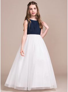 A-Line/Princess Scoop Neck Floor-Length Ruffle Zipper Up Regular Straps Sleeveless No Dark Navy General Chiffon Tulle Junior Bridesmaid Dress Girls Bridesmaid Dresses, Little Girl Dresses, Cute Girl Outfits, Girls Dresses, Flower Girl Dresses, Summer Dresses, Pretty Dresses, Beautiful Dresses, Wedding Party Dresses