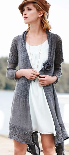 Long grey cardigan over white.