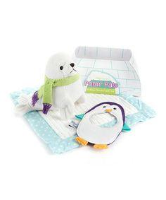 Love this White & Blue Polar Pals Blanket Set by Baby Aspen on #zulily! #zulilyfinds