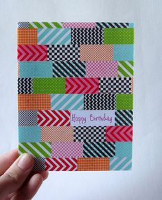 Happy Birthday  Washi Tape Card by DreamyCards on Etsy, $2.00