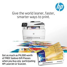 Get as much as P4000 worth of FREE Sodexo Gift Passes when you buy any participating HP LaserJet or ScanJet printer.  Promo period is until July 31, 2016.  Terms and Conditions apply.  http://mypromo.com.ph/