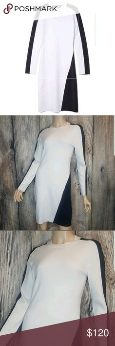 Rag & Bone M Cecilee Dress ivory color block -NWT Size Medium  Made of 81% extra Fine Merino Wool | 16% Nylon | 3% Spandex   -The only flaw is make up on the inner front neck.see last photo.    - Long sleeve. Crew Neck. fitted dress.color block.   Hits right above the knee rag & bone Dresses Midi