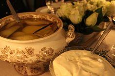Ingefärsinkokta päron med polkagrädde