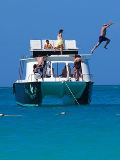 The only boats with spring diving boards in Turks and Caicos.  Island Vibes Tours.