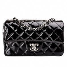 04bc52937ac7 View this item and discover similar structured shoulder bags for sale at -  Chanel black Small Classic flap bag in quilted patent leather with silver  tone ...