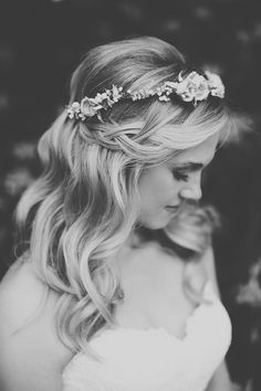 Love some sort of flower crown for wedding day