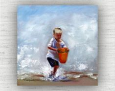 Beach Wall Decor - Orange - Beach Decor - Ready to Hang Gallery Block Print from Original Oil Painting - Pail of Water Fetched Seaside Art, Coastal Art, Painting Prints, Wall Art Prints, Fine Art Prints, Paintings, Beach Wall Decor, Home Decor Wall Art, Beach Artwork