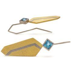 fused gold geometric earrings by www.shivanijewellery.co.uk