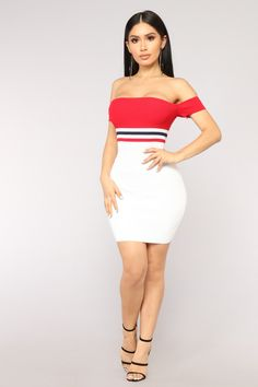 Too good at goodbyes knit dress - red/white red and white outfits, club out Club Dresses, Sexy Dresses, Beautiful Dresses, Short Dresses, Buy Dress, Knit Dress, Dress Red, Look Fashion, Fashion Models