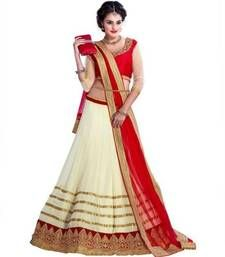 Buy Cream embroidered Net Semi-stitched lehenga-choli ghagra-choli online