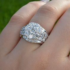Art Deco Diamond Engagement Ring 18k White Gold by JdotC on Etsy, $8000.00