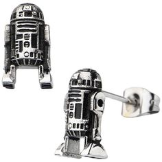 Star Wars Stainless Steel R2-D2 Stud Earrings ($41) ❤ liked on Polyvore featuring jewelry, earrings, stainless steel earrings, long earrings, stud earring set, stainless steel jewellery and stainless steel jewelry