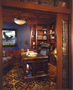 Traditional Home Office with Built-in bookshelf, Chair rail, Hardwood floors… Home Office Design, House Design, Traditional Home Offices, Hardwood Floors, Flooring, Home Libraries, Interior Decorating, Interior Design, My Room