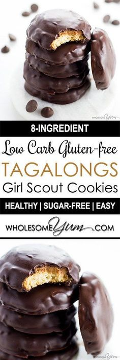 This copycat Tagalongs cookies recipe is easy to make and tastes just like the real ones! They'll be your favorite low carb gluten-free Girl Scout Cookies recipe.