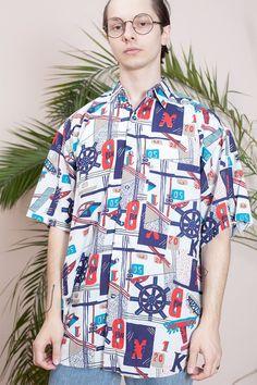 048c1b85a9 Abstract print shirt•90s shirt•Short sleeve shirt•Mens vintage  clothing•Mens button up shirt•Hipster shirt•Collar shirt•Vintage hippie  shirt