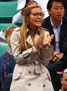 Jelena Ristic at Novak Djokovic's Quarterfinal match