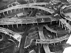 Construction of Spaghetti Junction, near Birmingham, England, 1971.