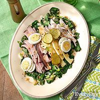 Monte-Cristo-Style Chef Salad with Warm Maple-Dijon Dressing
