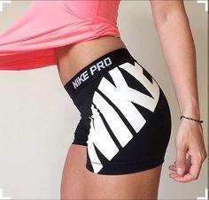"""NIKE PRO 3"""" COMPRESSION LOGO WOMEN'S SHORTS - SIZE M MEDIUM - BLACK / WHITE #Nike #Shorts"""