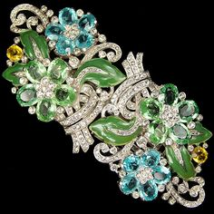 Trifari 'Alfred Philippe' Pair of Pave Enamel and Pastel Flowers Floral Spray Dress Clips or Clipmate Pin ca 1939