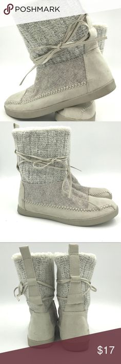 Madden Girl Off-White Pull on Booties Cute bootie, perfect for winter season. Very good used condition. Some tiny stains (pinkish) shown in pictures. 8 inches tall. Fabric exterior with faux shearling interior with rubber sole. Madden Girl Shoes Winter & Rain Boots