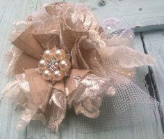 Set of 5 Bridal Flowers, Linen & Lace, White Satin Rosettes, Cottage Chic, Vintage Bride, Shabby Chic, Wedding Decorations, Garter Flowers on Etsy, $26.00