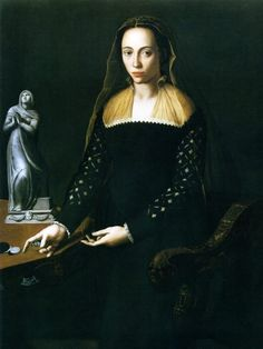 Giulia de'Medici. Shown here as a widow. As she is thought to have been mixed-race (African and European) this is one of the earliest portraits of a person of mixed ancestry in Europe