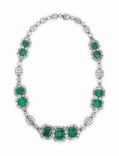 AN ART DECO EMERALD AND DIAMOND NECKLACE BY JOSEPH CHAUMET
