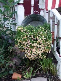 hang galvanized tub for planter
