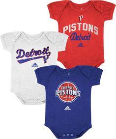 Detroit Pistons Newborn Baby adidas 3-Pack Creeper Set #pistons #detroit #nba