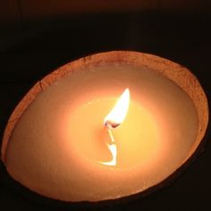 Coconut shell candle in Coco mango scent www.willowmooncandles.com