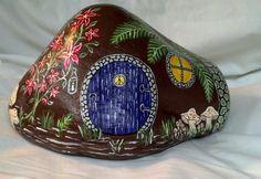 "Rainier Valley Hand Painted River Rock Gnome Home Folk Art Acrylic 8"" x 5"" x 5"" | eBay"