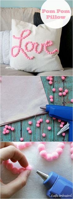 DIY Pom Pom Pillow: Love Themed & Consumer Crafts Deko-Kissen einfach ganz faul mit Heißkleber mit Bommeln bekleben The post DIY Pom Pom Pillow: Love Themed & Consumer Crafts & nähen appeared first on Pillow . Valentines Bricolage, Valentine Crafts, Valentine Decorations, Easy Diy Projects, Craft Projects, Sewing Projects, Project Ideas, Crafts To Make And Sell, Diy And Crafts