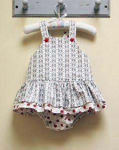 Baby girl romper pdf sewing pattern TINKERBELLE ROMPER sizes 3 months to 3 years.