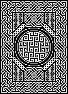 All Tied Up Table Topper: Celtic Knots in Filet Crochet Crochet Thread Patterns, Crochet Boarders, Crochet Chart, Cross Stitch Patterns, Crocheting Patterns, Celtic Infinity Knot, Celtic Knots, Celtic Patterns, Celtic Designs