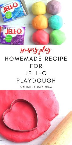 A simple recipe for making homemade playdough with Jell-o for simple sensory play that is colorful and smells amazing. Best Homemade Playdough Recipe, Homemade Jello, Homemade Bubbles, Toddler Crafts, Toddler Activities, Crafts For Kids, Cooked Playdough, Sensory Play, Painting For Kids