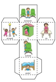 Preposition / Positional Language Cube by Little Wombats Toddler Learning Activities, Sight Word Activities, Speech Therapy Activities, Preschool Activities, Teaching Kids, English Worksheets For Kids, Preschool Worksheets, Positional Language, Preschool Homework
