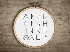 modern cross stitch FONT pattern geometric triangle