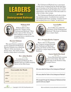 Worksheets: Leaders of the Underground Railroad