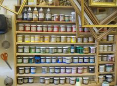 a vivid assortment of pigments in the Versailles restoration atelier photo: Lynne Rutter Art Spaces, Cute Stationary, Art Supply Stores, How To Make Paint, Nature Paintings, Beautiful Moments, Versailles, Art Supplies, Wine Rack